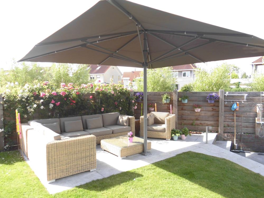parasols xl parasol basto vierkant voor tuin of terras. Black Bedroom Furniture Sets. Home Design Ideas